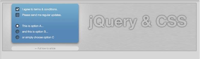 Checkbox y Radio Buttons con jQuery y CSS